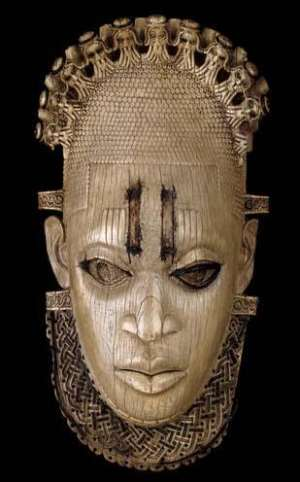 Hip mask of Queen-mother Idia, Benin, Nigeria, looted in 1897 and now in British Museum, London, United Kingdom.