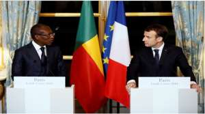 President Emmanuel Macron of France, right, and President Patrice Talon of Benin held a joint press conference after a meeting at the Élysée Palace in Paris on Monday. Credit Pool photo by Etienne Laurent, published in the New York Times