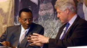 Paul Kagame and Bill Clinton in 1994 and the Rwanda genocide begins 1994
