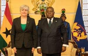 The Ghanaian leader, Nana Akufo Addo and The US Ambassador to Ghana, Stephanie Sullivan