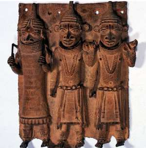 Photo:c. Museum fur Kunst und Gewerbe,Hamburg.</p><p><em>Relief Panel with three dignitaries, Benin, Nigeria, now in Museum fur Kunst und Gewerbe, Hamburg, Germany.</em>