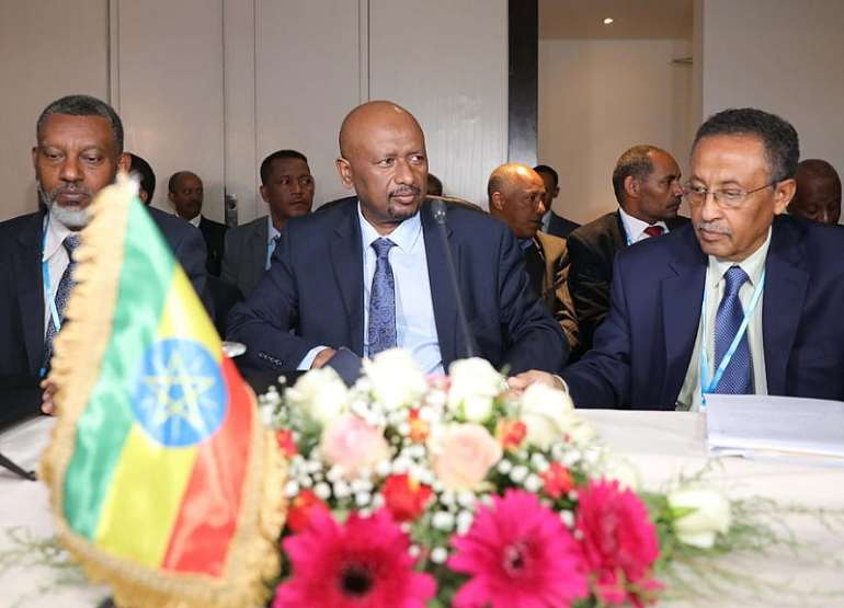 Ethiopian Minister of Water, Irrigation and Energy Seleshi Bekele (C) attends a meeting with his Egyptian and Sudanese counterparts, in Khartoum, Sudan, 21 December 2019.   - Source: EPA-EFE/MARWAN ALI