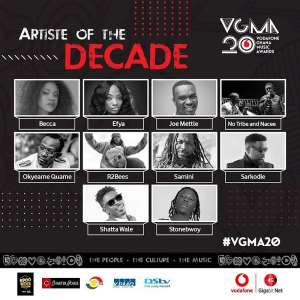 Nominees For VGMAs Artiste Of The Decade Released
