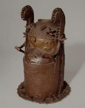 Commemorative head of an Oba, Benin, Nigeria now in Volkenkunde Museum, Leiden, Netherlands.