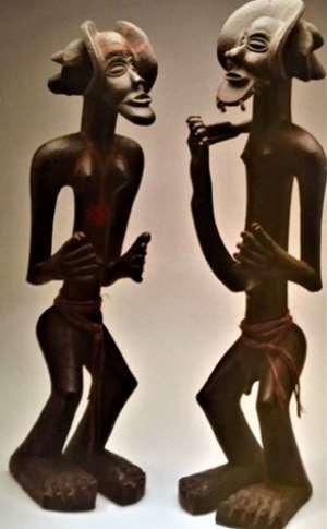 Ancestor couple, Chibinda and his wife Lweji. Chokwe. Democratic Republic of Congo, now in Tropenmuseum, Amsterdam, Netherlands.
