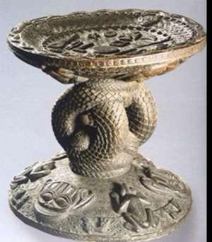 Stool of Oba Eresoyen, Benin, Nigeria, now in Ethnologisches Museum, Berlin, Germany.
