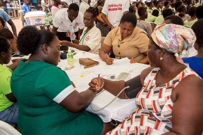 Member of the Somanya community were offered malaria testing services during the celebration of the 2019 World Malaria Day - Credit: Dominic Dery, USAID/Ghana