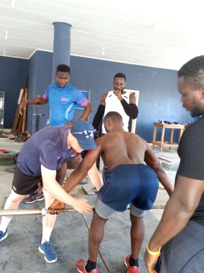 Sasc Stuart Aimer, S&c Coach Of London Scottish Fc, Busy With A Gym Conditioning Session With The Ghana Rugby Eagles