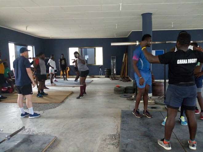 Sasc The Ghana Rugby Eagles National Team Busy With Conditioning Traing Being Undertaken By Stuart Aimer, S&c Coach Of London Scottish Fc