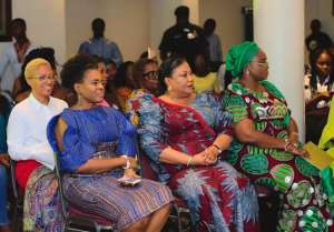 First Lady Rebecca Akufo-Addo, centre, with Awesome Treasures Foundation founder Olajumoke Adenowo, left and First Lady of Kwara State Nigeria Mrs Omolewa Ahmed, right, and Mrs Valerie (Akufo- Addo) Obazee, behind