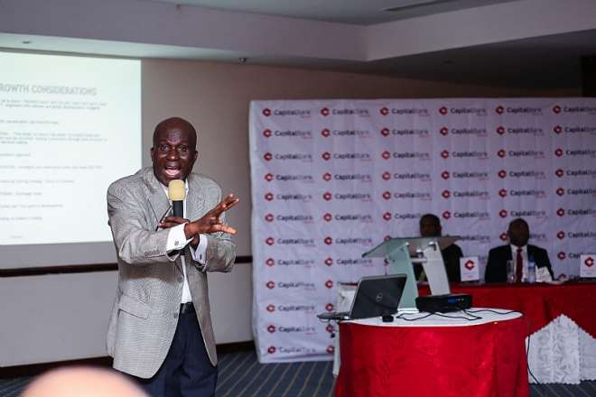 Mr. Ato Pinkrah Of Ghana Banking College Emphasising A Point