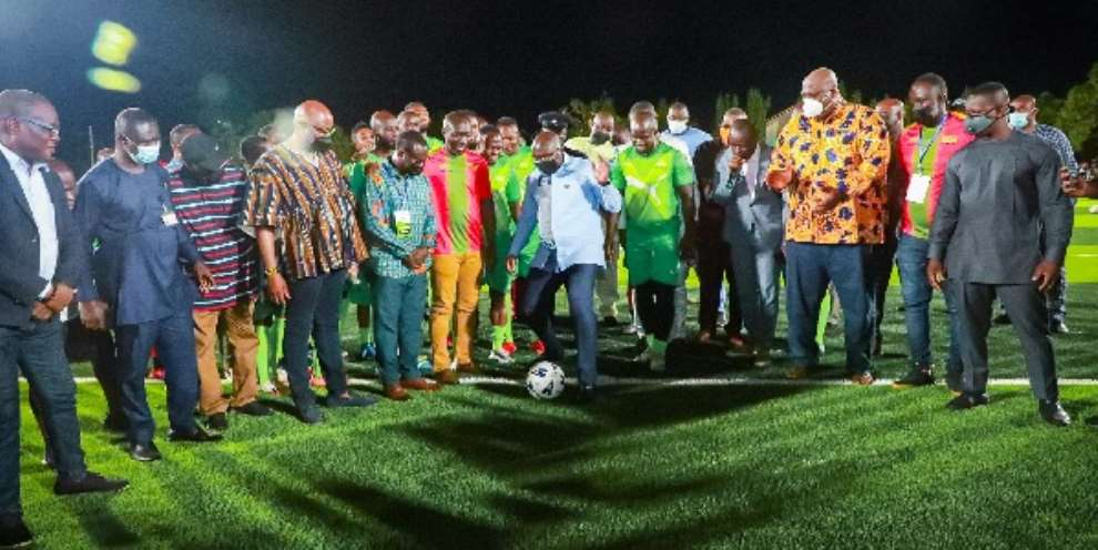 The Vice - President Dr Mahamudu Bawumia launched the Adjiriganor artificial turf in Accra