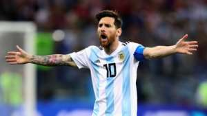 Messi feeling the heat.