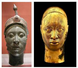 On the left is the cast brass head, Ori Olokun, an Ife head, in British Museum and on the right the sculpture by Damien Hirst which he calls Golden Heads(Female).