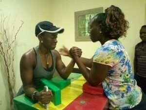Female Bodybuilder, Bambi, Takes On Arm Wrestling Challenge