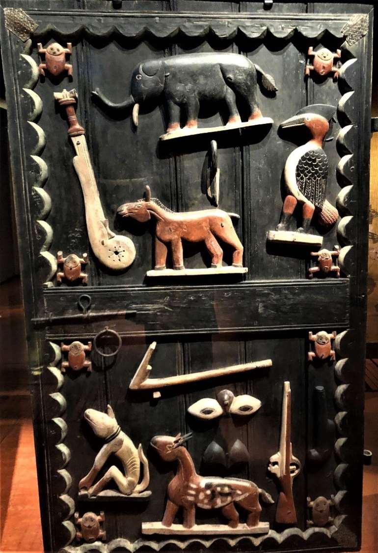 Door panel, Abomey, Dahomey, Benin Republic, now in Musée du Quai Branly, to be restituted to Benin Republic.