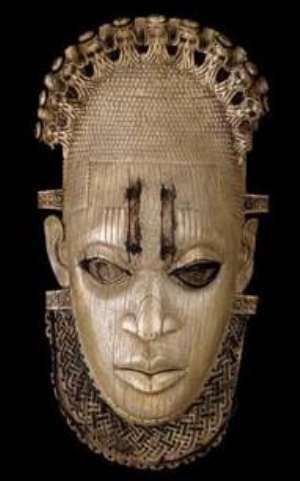 Ivory hip mask, Queen-Mother Idia, Benin, Nigeria, now in British Museum, London, United Kingdom.