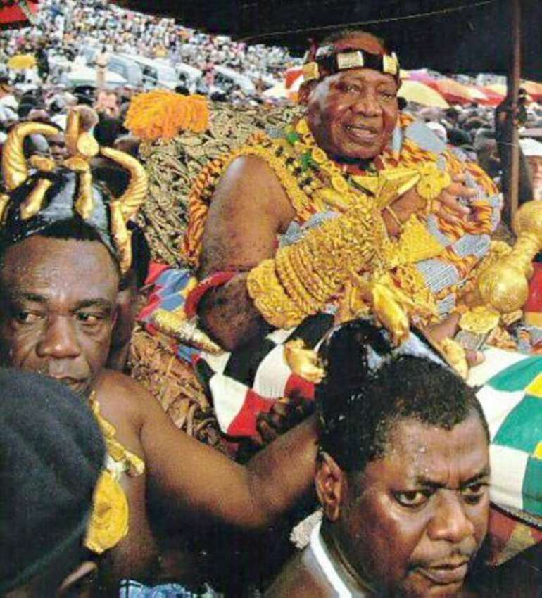 The late Asantehene, Otumfuo Nana Opoku Ware II. in full regalia.