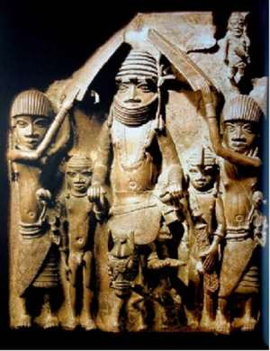 Oba Esigie on horseback with retainers, Benin, Nigeria, now in Ethnologisches Museum/ Humboldt Forum, Berlin, Germany. What do Germans still need to know about him that they have not yet discovered in hundred years?