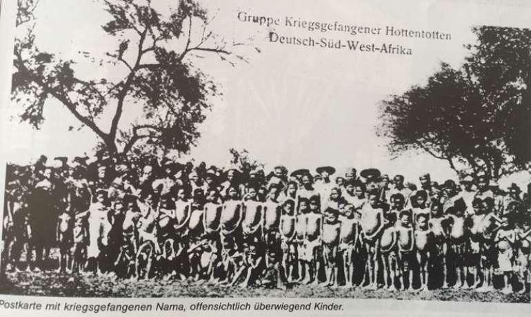 Nama prisoners, evidently children, captured after Nama uprising against German colonial exactions. From Helgard Patemann, Namibia-Deutsche Kolonie 1884-1915, Peter Hammer Verlag,1984, p.121.