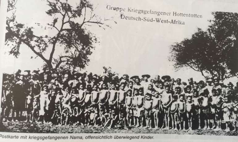 Nama prisoners, evidently children, captured after Nama uprising against German colonial exactions. From Helgard Patemann, Namibia-Deutsche Kolonie 1884-1915, Peter Hammer Verlag,1984, p.121.