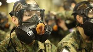The US military in chemical warfare training