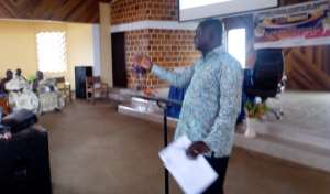 Hon. Emmanuel Kofi Agyemang,DCE for Dormaa East responding to questions at the forum