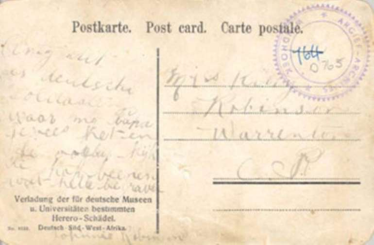 Postcard indicating who the addresses of the box were: German museums and universities