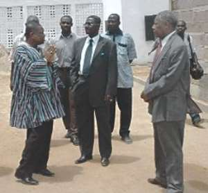 TGETFund Administrator, Mr Ofosuaba Mensah-Banahene (2nd left), interacting with Prof. Yaw Sarfo Boafo (middle), Chairman of the fund. With them include the Vice-Chancellor, Prof. C.N.B.Tagoe (2nd right.