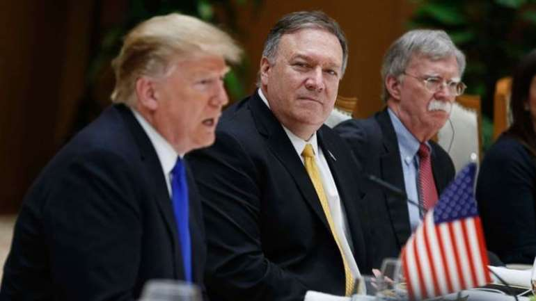 From left: Donald Trump, Mike Pompeo and John Bolton