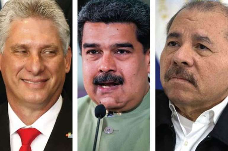 From Left: President Miguel Diaz-Canel of Cuba, President Nicolas Maduro of Venezuela and President Daniel Ortega of Nicaragua.