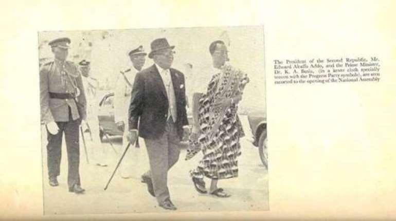 The Prime Minister Prof. K.A. Busia with H. E Edward Akufo – Addo Ceremonial President - credit K. A. Busia – Symbol of Democracy – Anana Agyei