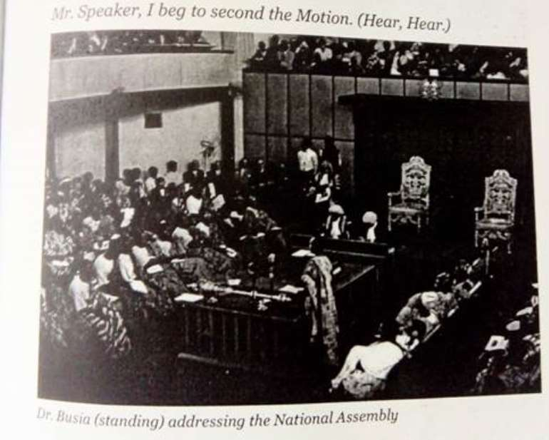 Prof K. A Busia seconding the Independence Motion in the Legislative Assembly on 6<sup>th</sup> March 1957. Picture credit K. Busia – Symbol of Democracy – by Anana Agyei