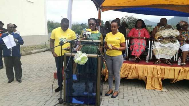 99201775125 mrs georgina asare fiagbenu delivering a speech at the  commissioning ceremony