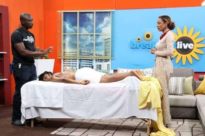 Ransford on TV Africa's Morning show with Actress Nikki Samonas