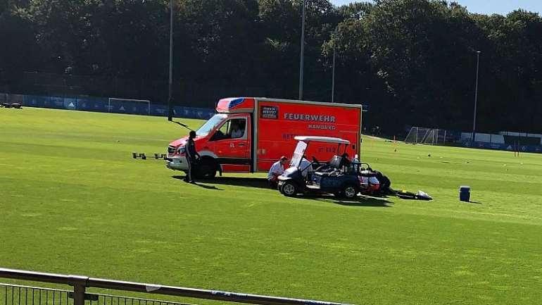 Paramedics taking care of Gyamerah on the HSV training ground