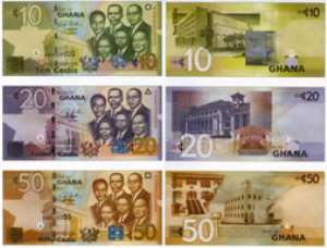 The front and back views of the 10, 20 and 50 Ghana cedis.