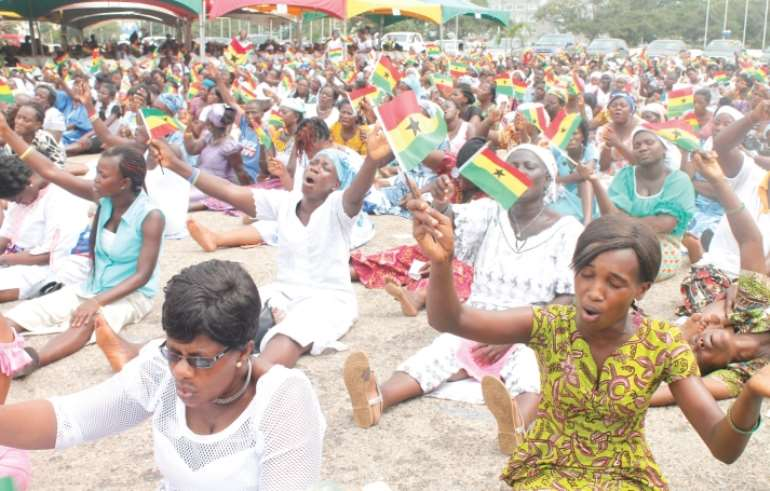 Ghanaians praying for the nation