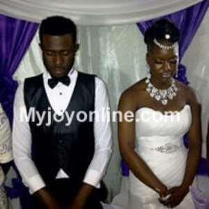 Ahkan and Tracy at their wedding Saturday