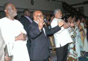 Former President Jerry John Rawlings, (3rd left) his wife Nana Konadu (4th left), Former Vice-President of Zambia, Dr Mevers  Mumba, (2nd left) and Dr Spio Gabrah (1st left) At the Action Chapel International during the thanksgiving service.