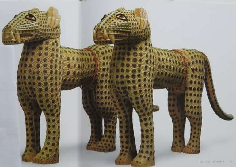 Pair of leopard figures, now in the Royal Collection Her Majesty Queen Elizabeth II, London, UK. The commanders of the British Punitive Expedition force to Benin in 1897 sent a pair of leopards to the British Queen soon after the looting and burning of Benin City. See Nigel Barley, The Art of Benin, p.112.