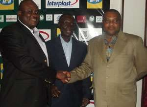MTN chief Ikpoki (L) Dr Frempong and Coussey in a pose after the launch