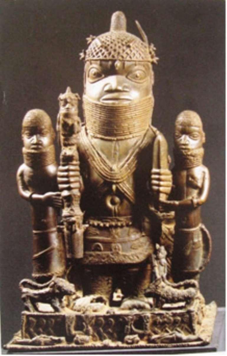 Altar group honouring Oba Akenzua I, Benin, Nigeria, now in Ethnology Museum, Berlin, Germany.