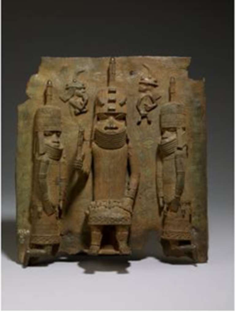 Oba of Benin with two Attendants and two Portuguese in background, Benin/Nigeria, now in the British Museum. <br>Seized by British troops during the invasion of Benin in 1897.<br>