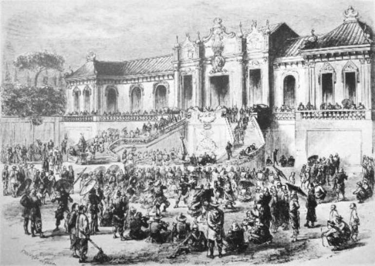 Looting of the Old Summer Palace, Gardens of Perfect Brightness, Beijing, (Yuan Ming Yuan) by Anglo-French forces in 1860.