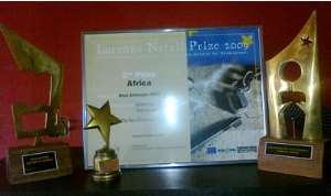Some of Anas' awards on display