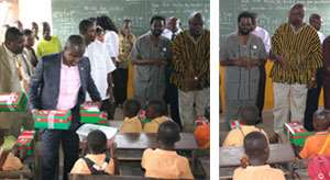 The Accra Mayor and some heads of the assembly addressing some pupils (left), Deputy Minister of Information Agyenim Boateng giving out some school kits to the kindergarten class of the Socco Primary School (right)