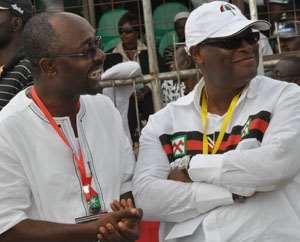 Alfred Woyome in happier moments with Castle Boy Alex Segbefia,