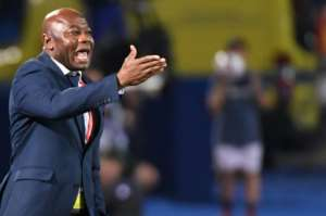 Tanzania coach and former Nigeria star Emmanuel Amunike reacts during a 2-0 defeat by Senegal in the Africa Cup of Nations.  By Khaled DESOUKI (AFP)