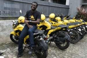 Tayo Bamiduro, founder and CEO of motorcycle taxi app MaxOkada.  By PIUS UTOMI EKPEI (AFP)